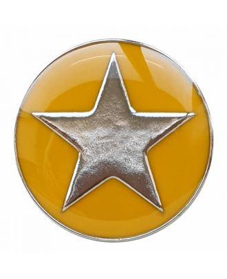 emailierter Sternenknöpf Vollmetall mit Öse - Größe: 25mm - Farbe: gelb - Art.Nr. 380393