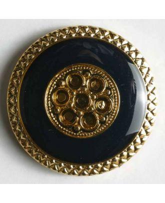 Schmuckknopf, Kunststoff metallisiert, marmorähnlich blauer Kreis wird eingefasst von dekorativen goldenen Ornamenten - Größe: 25mm - Farbe: blau - Art.Nr. 380021