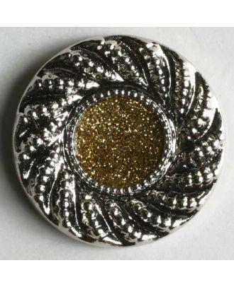Schmuckknopf, Kunststoff metallisiert, gold glänzender Kern umrahmt von markantem, silbernen Rand  - Größe: 23mm - Farbe: silber - Art.Nr. 340216