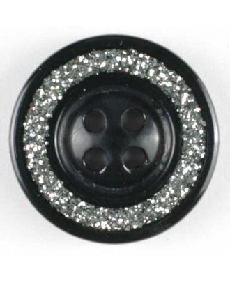 Schmuckknopf, Kunststoff metallisiert, Rand mit glitzerndem Dekor und 4 Löchern - Größe: 19mm - Farbe: schwarz - Art.Nr. 320396
