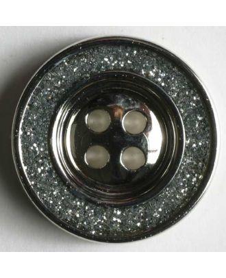 Schmuckknopf, Kunststoff metallisiert, Rand mit glitzerndem Dekor und 4 Löchern - Größe: 23mm - Farbe: mattsilber - Art.Nr. 350305