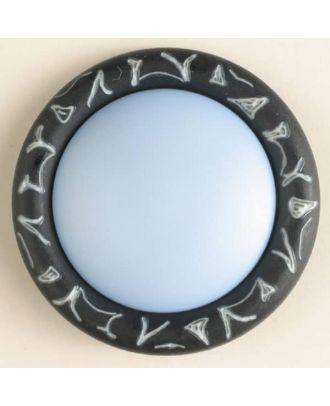 Kunststoffknopf mit eingraviertem Ornament am Rand mit Öse - Größe: 34mm - Farbe: marineblau - Art.Nr. 400099