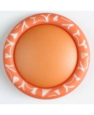 Kunststoffknopf mit eingraviertem Ornament am Rand mit Öse - Größe: 34mm - Farbe: orange - Art.Nr. 400103