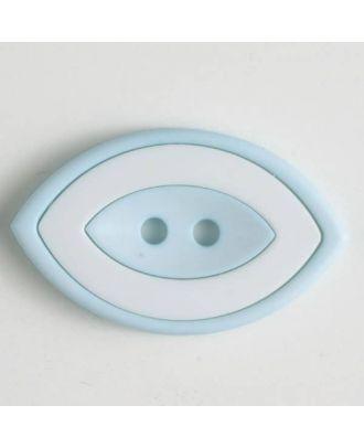 Modeknopf oval, zweifarbig Farbe + weiß, 2-Loch - Größe: 38mm - Farbe: blau - Art.Nr. 400220