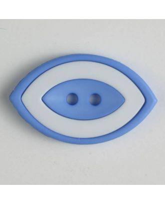 Modeknopf oval, zweifarbig Farbe + weiß, 2-Loch - Größe: 38mm - Farbe: blau - Art.Nr. 400221