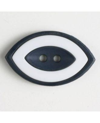 Modeknopf oval, zweifarbig Farbe + weiß, 2-Loch - Größe: 38mm - Farbe: marineblau - Art.Nr. 400222