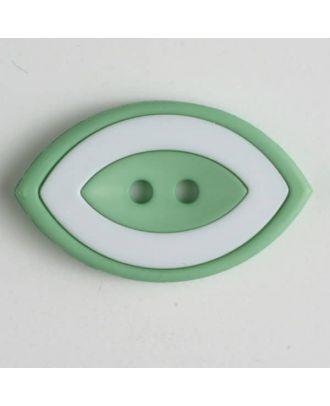 Modeknopf oval, zweifarbig Farbe + weiß, 2-Loch - Größe: 38mm - Farbe: grün - Art.Nr. 400223