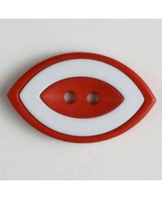 Modeknopf oval, zweifarbig Farbe + weiß, 2-Loch - Größe: 38mm - Farbe: rot - Art.Nr. 400224