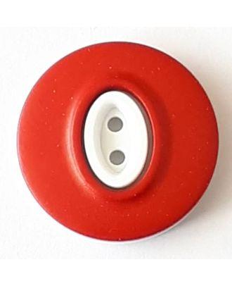 Polyamidknopf, Knopflöcher eingebettet in Oval  mit 2 Löchern - Größe: 20mm - Farbe: rot - Art.Nr. 338749