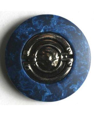 Kunststoffknopf silberne Mitte mit breitem marmoriertem Rand - Größe: 18mm - Farbe: blau - Art.Nr. 280739