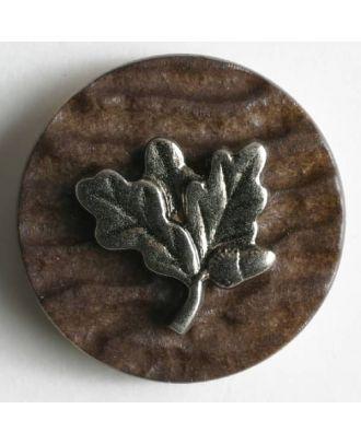 Hirschhornknopf Imitat mit eingearbeitetem Edelweiß - Größe: 20mm - Farbe: braun - Art.Nr. 280001