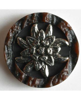 Hirschhornknopf Imitat mit eingearbeitetem Edelweiß - Größe: 28mm - Farbe: braun - Art.Nr. 350276