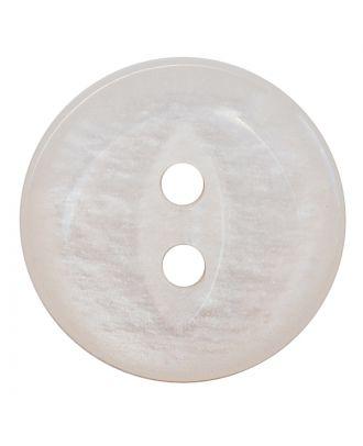 Polyesterknopf rund in glänzender Optik mit 2 Löchern - Größe:  13mm - Farbe: weiß - ArtNr.: 241273