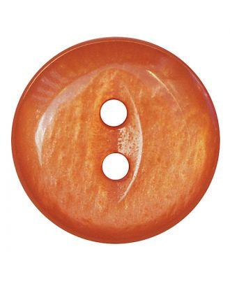 Polyesterknopf rund in glänzender Optik mit 2 Löchern - Größe:  13mm - Farbe: terrakotta - ArtNr.: 247802