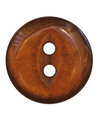 Polyesterknopf rund in glänzender Optik mit 2 Löchern - Größe:  13mm - Farbe: braun - ArtNr.: 247803