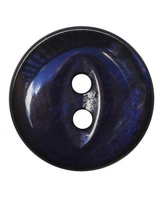Polyesterknopf rund in glänzender Optik mit 2 Löchern - Größe:  13mm - Farbe: dunkelblau - ArtNr.: 247804