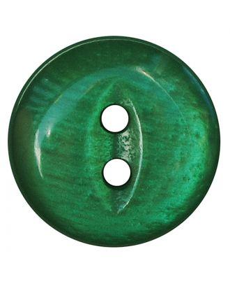 Polyesterknopf rund in glänzender Optik mit 2 Löchern - Größe:  13mm - Farbe: grün - ArtNr.: 247806