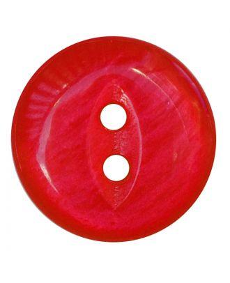 Polyesterknopf rund in glänzender Optik mit 2 Löchern - Größe:  13mm - Farbe: rot - ArtNr.: 247810