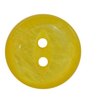 Polyesterknopf rund in glänzender Optik mit 2 Löchern - Größe:  13mm - Farbe: gelb - ArtNr.: 247812