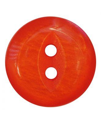 Polyesterknopf rund in glänzender Optik mit 2 Löchern - Größe:  13mm - Farbe: orange - ArtNr.: 247813