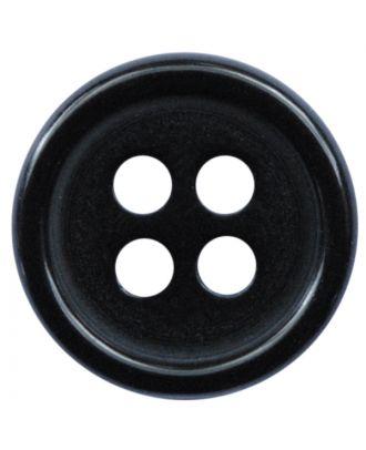 Polyesterknopf rund in glänzender Optik mit 4 Löchern - Größe:  11mm - Farbe: schwarz - ArtNr.: 211807