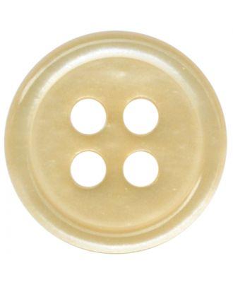 Polyesterknopf rund in glänzender Optik mit 4 Löchern - Größe:  11mm - Farbe: beige - ArtNr.: 217801