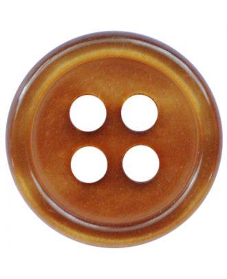 Polyesterknopf rund in glänzender Optik mit 4 Löchern - Größe:  11mm - Farbe: hellbraun - ArtNr.: 217802