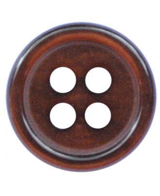 Polyesterknopf rund in glänzender Optik mit 4 Löchern - Größe:  11mm - Farbe: dunkelbraun - ArtNr.: 217803