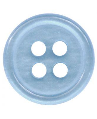 Polyesterknopf rund in glänzender Optik mit 4 Löchern - Größe:  11mm - Farbe: hellblau - ArtNr.: 217804