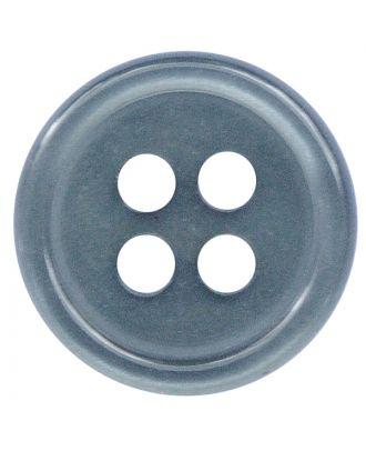 Polyesterknopf rund in glänzender Optik mit 4 Löchern - Größe:  11mm - Farbe: rauchblau - ArtNr.: 217805