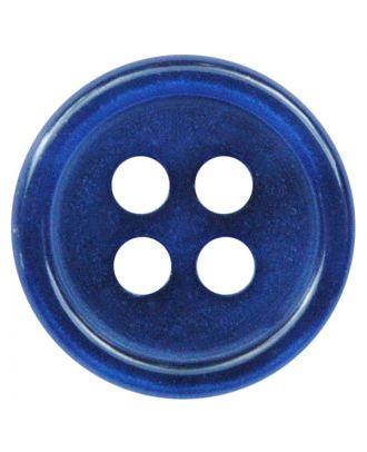 Polyesterknopf rund in glänzender Optik mit 4 Löchern - Größe:  9mm - Farbe: blau - ArtNr.: 197806