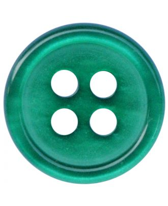 Polyesterknopf rund in glänzender Optik mit 4 Löchern - Größe:  11mm - Farbe: grün - ArtNr.: 217808