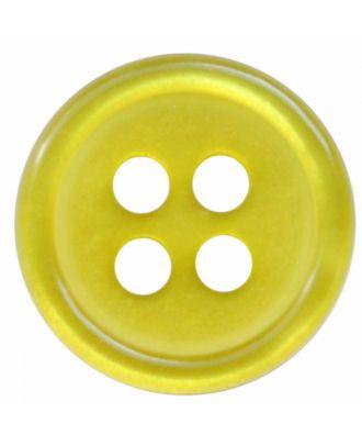 Polyesterknopf rund in glänzender Optik mit 4 Löchern - Größe:  11mm - Farbe: senfgrün - ArtNr.: 217809