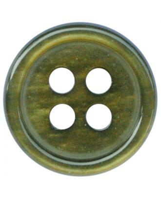 Polyesterknopf rund in glänzender Optik mit 4 Löchern - Größe:  11mm - Farbe: khaki - ArtNr.: 217810