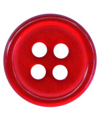 Polyesterknopf rund in glänzender Optik mit 4 Löchern - Größe:  11mm - Farbe: rot - ArtNr.: 217811
