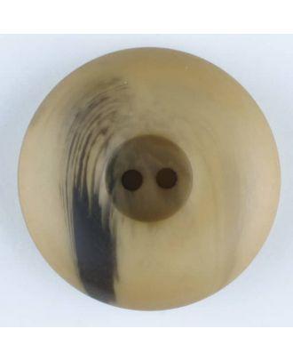Polyesterknopf mit Wulstrand und dunklem Pinselstrich, rund, 2 loch - Größe: 25mm - Farbe: beige - Art.Nr. 374703