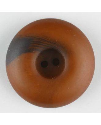 Polyesterknopf mit Wulstrand und dunklem Pinselstrich, rund, 2 loch - Größe: 30mm - Farbe: braun - Art.Nr. 384714