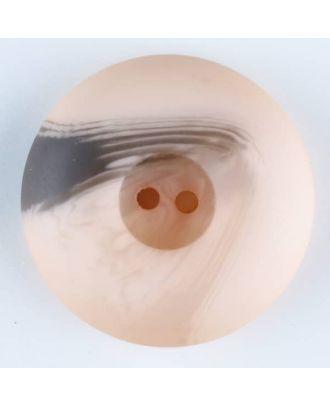 Polyesterknopf mit Wulstrand und dunklem Pinselstrich, rund, 2 loch - Größe: 18mm - Farbe: pink - Art.Nr. 314722
