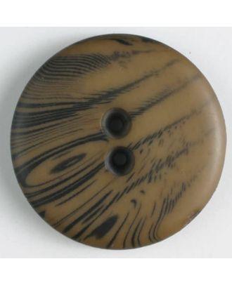 Polyesterknopf mit filigranem schwarzem Muster mit 2 Löchern - Größe: 18mm - Farbe: braun - Art.Nr. 310828