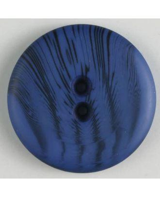 Polyesterknopf mit filigranem schwarzem Muster mit 2 Löchern - Größe: 23mm - Farbe: blau - Art.Nr. 341095