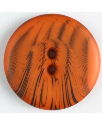 Polyesterknopf mit filigranem schwarzem Muster mit 2 Löchern - Größe: 18mm - Farbe: orange - Art.Nr. 310833