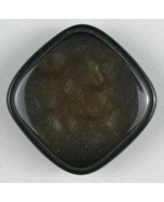 Kunststoffknopf quadratisch mit glänzender Oberfläche - Größe: 19mm - Farbe: braun - Art.Nr. 300226