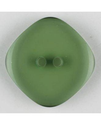 Polyesterknopf quadratisch mit abgerundeten Ecken, 2 Loch - Größe: 15mm - Farbe: grün - Art.Nr. 273706