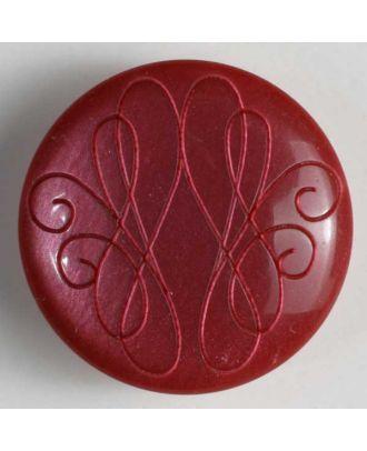 Kunststoffknopf mit eingraviertem Ornament - Größe: 18mm - Farbe: rot - Art.Nr. 251239