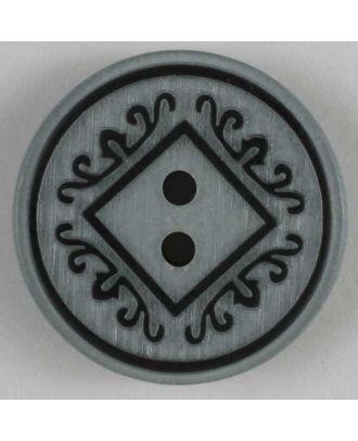 Kunststoffknopf mit schönem Design - Größe: 23mm - Farbe: grau - Art.Nr. 300594