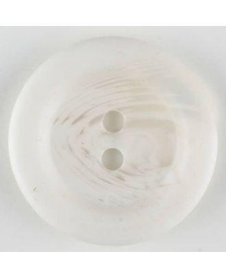 Polyesterknopf marmoriert mit breitem Wulstrand, 2 loch -  Größe: 28mm - Farbe: weiss - Art.Nr. 380322