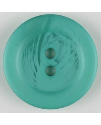 Polyesterknopf marmoriert mit breitem Wulstrand, 2 loch - Größe: 28mm - Farbe: grün - Art.Nr. 383707