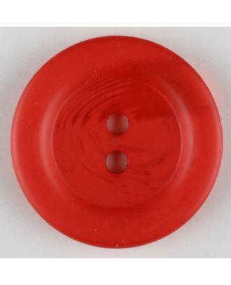 Polyesterknopf marmoriert mit breitem Wulstrand, 2 loch - Größe: 28mm - Farbe: rot - Art.Nr. 383709