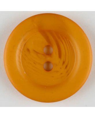 Polyesterknopf marmoriert mit breitem Wulstrand, 2 loch - Größe: 28mm - Farbe: orange - Art.Nr. 383710