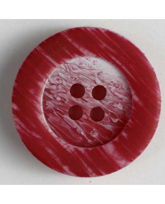Kunststoffknopf mit auffallend schöner Marmorierung und breitem Rand  - Größe: 23mm - Farbe: rot - Art.Nr. 300619